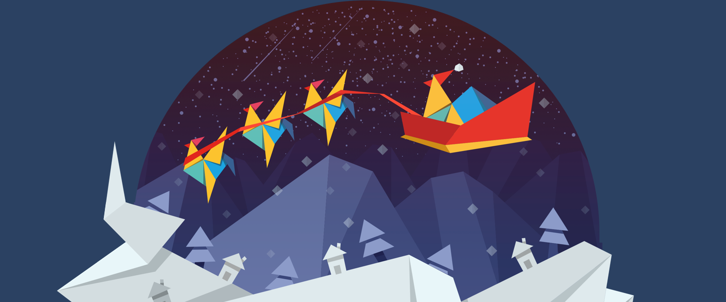 The RoosterMoney logo wearing a santa hat in a sleigh led by three Rooster reindeer, against a snowy night over snowy mountains and houses