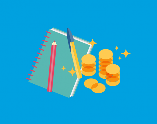 An illustration of a notepad, pencil, pen and shining piles of coins against a blue background with origami shapes decorating the corners