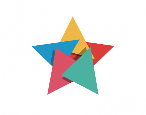 Illustration of a multi-coloured origami star on white with decorative origami in the corners