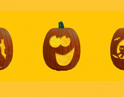 Illustrations of three carved Halloween pumpkins on a gold background with decorative origami in the corners