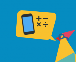 Illustration of Rooster with a gold speech bubble containing a phone and maths symbols, accompanied by a gold badge in the corner