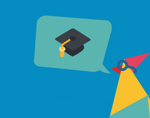 Illustration of Rooster with a teal speech bubble containing a graduation cap, accompanied by a gold badge in the corner